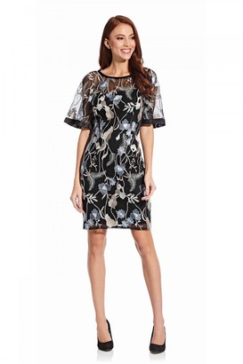 Adrianna Papell Embroidered Full Sleeve Dress