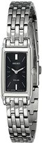 Seiko Women's SUP043 Stainless Steel and Black Dial Baguette Solar Watch