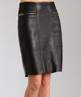 Stetson Black Zip-Accent Leather Pencil Skirt - Women