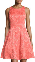 Maggy London Rose Jacquard Sleeveless Fit-and-Flare Dress, Coral Reef