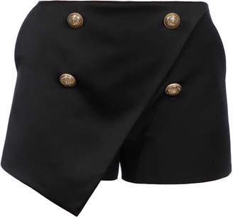 Balmain Draped Button-Front Wool Shorts