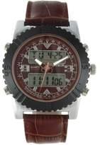 Timetech Men's 2812SBR Analog Digital Leather Tachymeter Watch