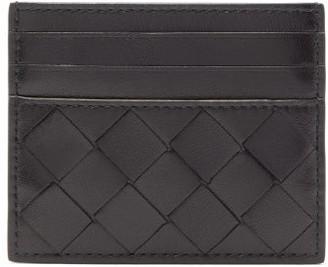 Bottega Veneta Intrecciato Leather Card Holder - Womens - Black