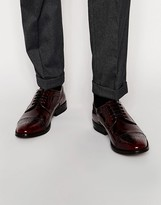 Asos Brogue Shoes In Burgundy Polished Leather - Red