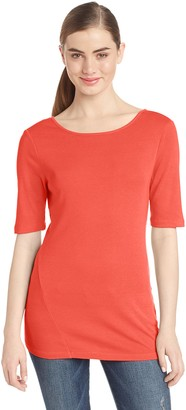 Three Dots Women's Short Sleeve Boatneck Tee with V Back