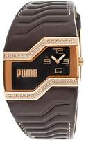 Puma Women's White Crystals Brown Dial Brown Leatherette