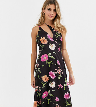 Skylar Rose midi dress with asymmetric cami straps in romantic floral satin