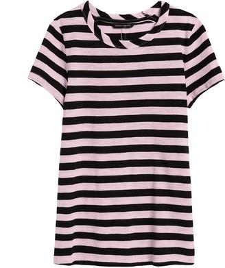 Banana Republic Petite Slub Cotton-Modal Stripe T-Shirt