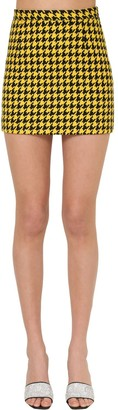 Alessandra Rich Houndstooth High Waist Mini Skirt