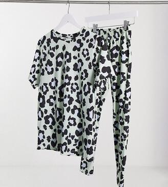 ASOS DESIGN Petite oversized tee & legging pyjama set in sage leopard print