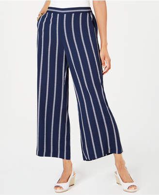 Charter Club Striped Cropped Wide-Leg Pants