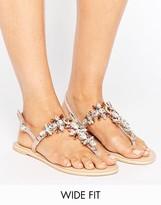 Asos FAIRYTALE Wide Fit Leather Embellished Flat Sandals