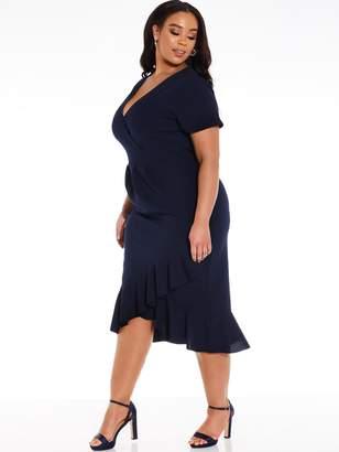 Quiz Curve Wrap Frill Dress - Navy