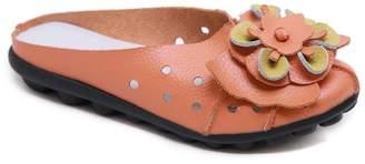 Rumour Has It Women's Mules Orange - Orange Floral Accent Leather Mule - Women