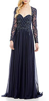 Terani Couture Sweetheart Neck Long Sleeve Beaded Gown