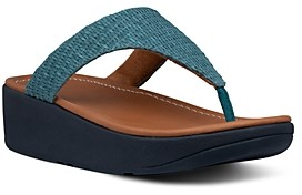 FitFlop Women's Imogen Basket-Weave T-Strap Wedge Sandals