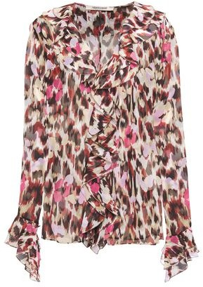 Roberto Cavalli Ruffled Printed Silk-chiffon Blouse
