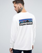 Patagonia Long Sleeve Top With P6 Logo In Regular Fit White