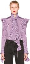 Vetements Flower Print Blouse in Purple,Floral.