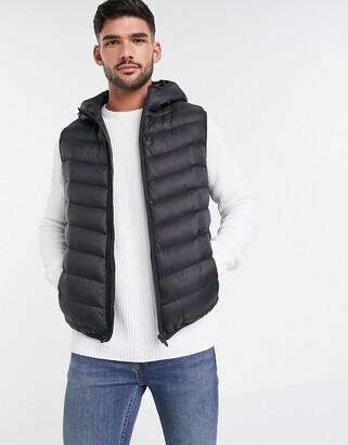 Brave Soul utility hooded vest in black