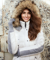 Weatherproof White Faux Fur-Trim Puffer Coat