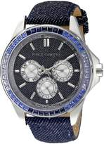 Vince Camuto Women's VC/5277DKDM Swarovski Crystal Accented Multi-Function Dial Denim Strap Watch