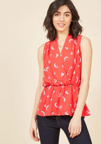 T307-07 When the dress code of your workplace is anything but business as usual, this bold red top will help you fit right in - and stand out, too! Boasting a painterly watermelon print and a gathered waistline that creates a peplum effect, this ModCloth-exclusiv