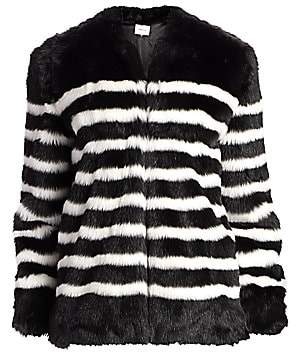 Frame Women's Jerry Stripe Faux Fur Coat
