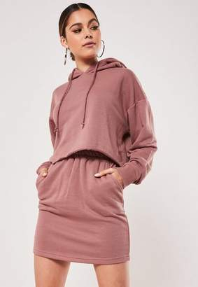 Missguided Rose Crop Hoodie And Skirt Co Ord Set