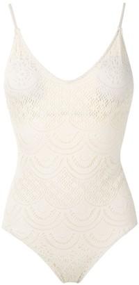 Track & Field V-neck lace swimsuit