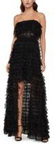 BCBGMAXAZRIA Strapless Ruffled Tulle Gown