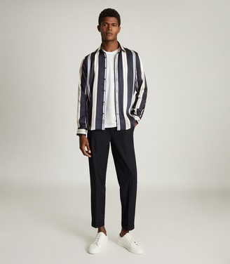 Reiss FONTAINE STRIPED SHIRT Navy