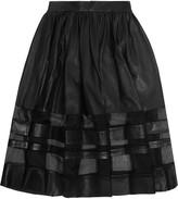 Alice + Olivia Misty silk organza-paneled leather midi skirt
