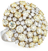 Roberto Coin 18k White & Yellow Diamond Cluster Ring, Size 6.5