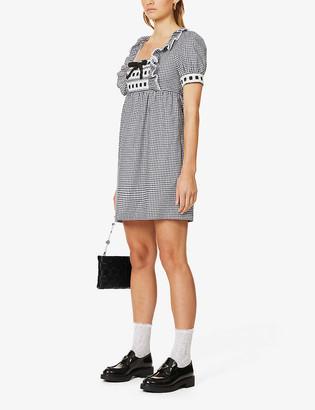 Miu Miu Bow-trimmed gingham cotton mini dress