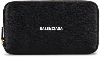 Balenciaga Cash Continental Wallet in Black & White   FWRD