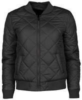 Golddigga Womens Quilted Bomber Jacket Coat Top Long Sleeve Zip Full