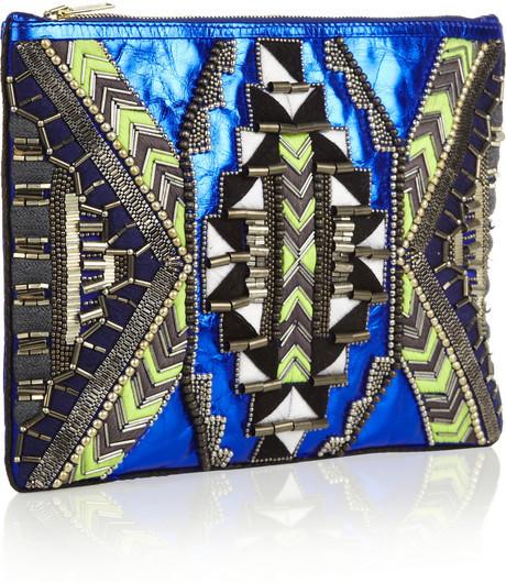Matthew Williamson Embellished metallic leather clutch