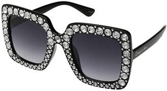 Sam Edelman Oversized Square Rhinestone (Black) Fashion Sunglasses