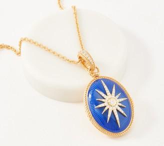 Judith Ripka 14K Gold Clad Enamel Locket Necklace