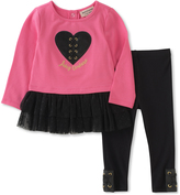 Juicy Couture Pink & Black Heart Ruffle-Hem Tunic & Leggings - Infant