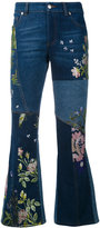 Alexander McQueen embroidered kick flare jeans - women - Cotton/Polyester/Viscose - 40