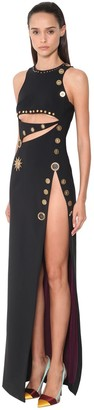 Fausto Puglisi Long Cut Out Jersey Dress W/studs Detail