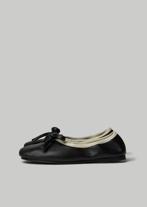 Lanvin Women's Ballerina Contrast Trim Shoes in Black Size 37 Calfskin Leather