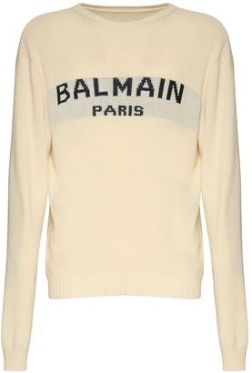 Balmain Logo Intarsia Cotton Blend Knit Sweater