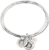 Under The Rose Under the Rose Personalised Fingerprint Bangle, 2 Charms, Silver