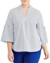 Lauren Ralph Lauren Plus Striped Bell-Sleeve Top