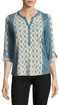 Style And Co. Petite Floral Pintuck Lace Accent Top