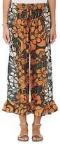 Warm Women's Rain Floral Silk Crop Pants