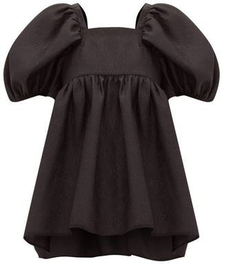 Cecilie Bahnsen Rita Puff-sleeve Open-back Rose-jacquard Blouse - Womens - Black